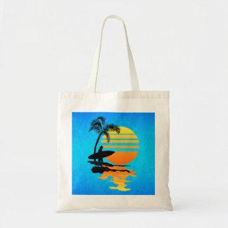 Salida del sol que practica surf bolsa tela barata