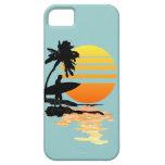 Salida del sol que practica surf iPhone 5 Case-Mate protectores