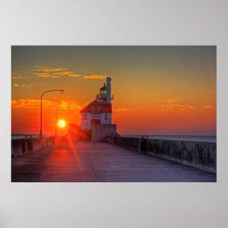 Salida del sol sobre el embarcadero del sur póster