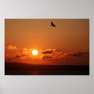 salida del sol sobre el lagarto, Cornualles del in Póster