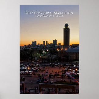 Salida del sol sobre el maratón de Cowtown Posters