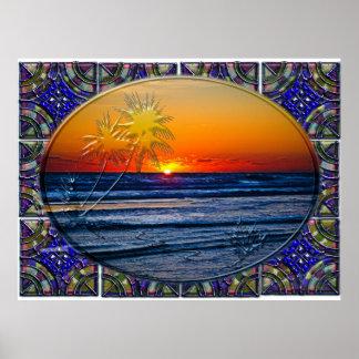 Salida del sol sobre la planta tropical 2 de las p póster