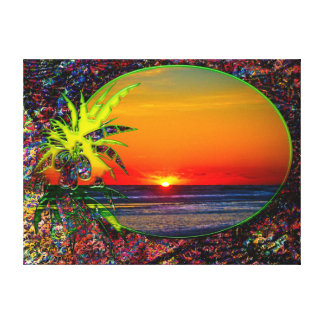 Salida del sol sobre la planta tropical 4 de las p lona envuelta para galerías