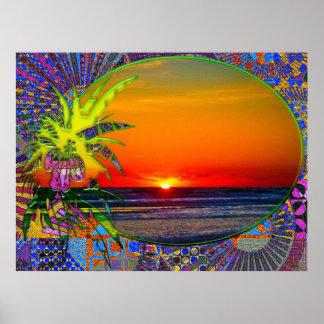 Salida del sol sobre la planta tropical 4 de las p póster