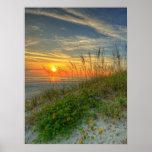 Salida del sol sobre las dunas de arena en Daytona Poster
