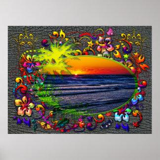 Salida del sol sobre las palmas de Océano Atlántic Póster