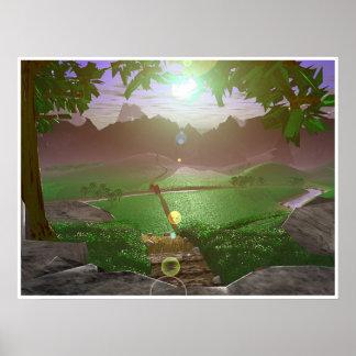 Salida del sol sobre los Montaña-caminos #3 Poster