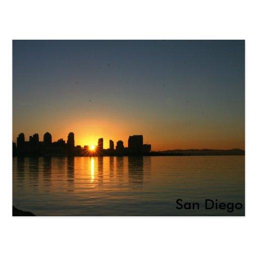 Salida del sol sobre San Diego Tarjetas Postales