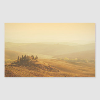 Salida del sol sobre un paisaje en Toscana Pegatina Rectangular