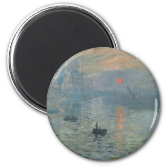 Salida del sol Soleil Levant de la impresión de Imán Redondo 5 Cm