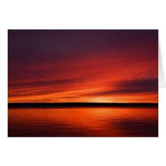 Salida del sol superior de la península de tarjeta de felicitación