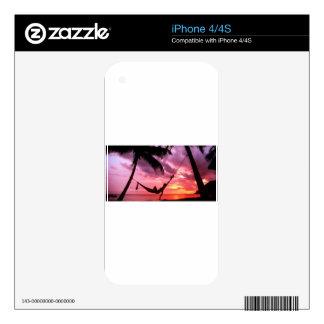 Salida del sol tropical en una hamaca iPhone 4 skins