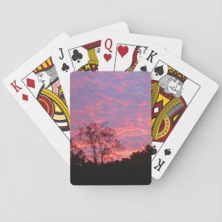 Salida del sol vibrante rosada cartas de póquer