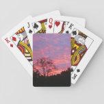 Salida del sol vibrante rosada barajas de cartas