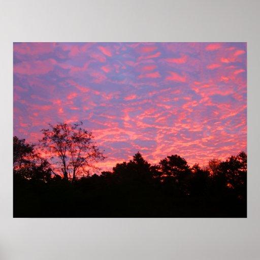 Salida del sol vibrante rosada póster