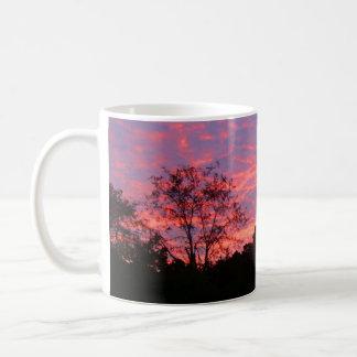 Salida del sol vibrante rosada taza básica blanca