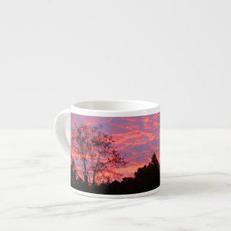 Salida del sol vibrante rosada taza espresso