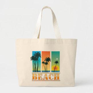 Salida del sol y bolso de la playa de la chispa de bolsa tela grande