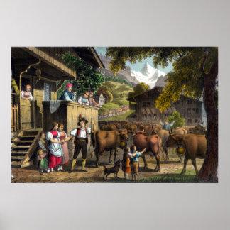 Salida para las montañas - escena suiza tradiciona impresiones