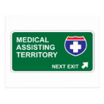 Salida siguiente de ayuda médica tarjeta postal