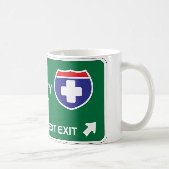 Salida siguiente de salud y de la seguridad taza de café