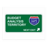 Salida siguiente del análisis del presupuesto tarjetas postales