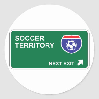 Salida siguiente del fútbol etiquetas redondas