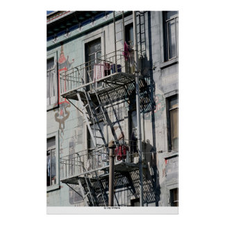 Salidas de incendios, Chinatown, San Francisco, Ca Póster