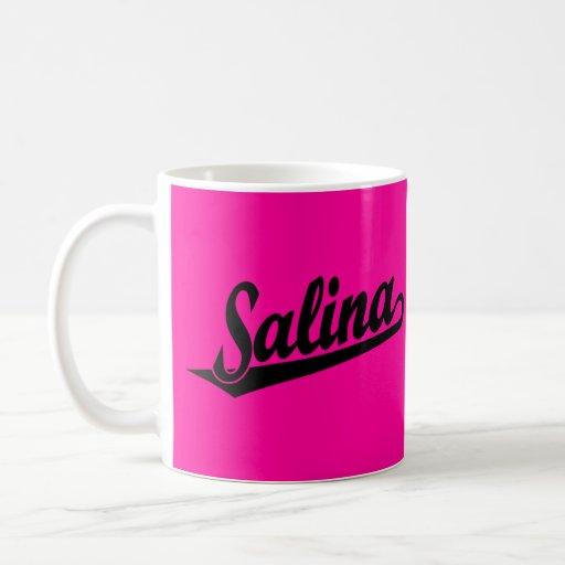Salina script logo in black coffee mug