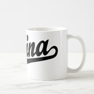 Salina script logo in black coffee mugs