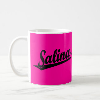 Salina script logo in black classic white coffee mug