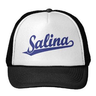 Salina script logo in blue trucker hat