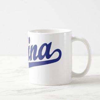 Salina script logo in blue mugs