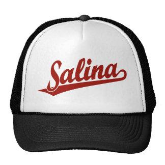 Salina script logo in red trucker hat