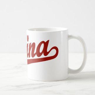 Salina script logo in red coffee mugs