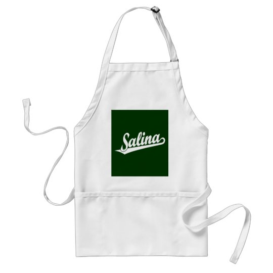 Salina script logo in white adult apron