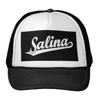 Salina script logo in white distressed trucker hat