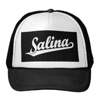 Salina script logo in white trucker hat