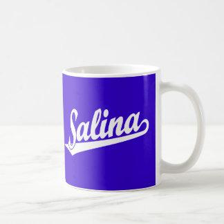 Salina script logo in white coffee mugs