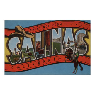 Salinas, California - Large Letter Scenes - Rode Poster
