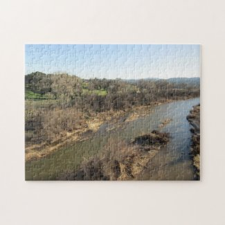 Salinas River from Vineyard Bridge, Templeton, CA Jigsaw Puzzle