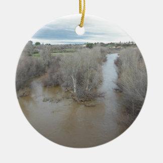 Salinas River North of Veterans Memorial Bridge Ceramic Ornament