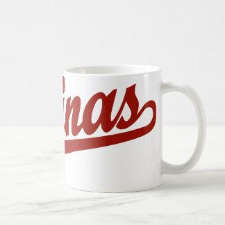 Salinas script logo in red coffee mug