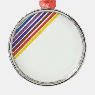 Salinger Stripe Round Metal Christmas Ornament