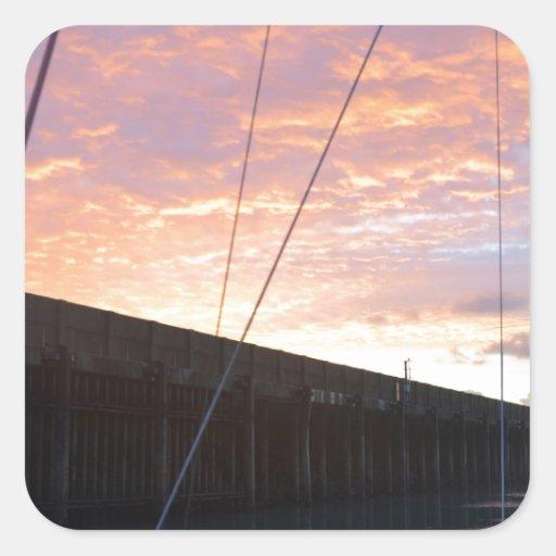 Salir de Dover en el amanecer Calcomanía Cuadradas Personalizada