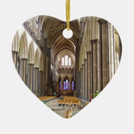 Salisbury Cathedral Double-Sided Heart Ceramic Christmas Ornament