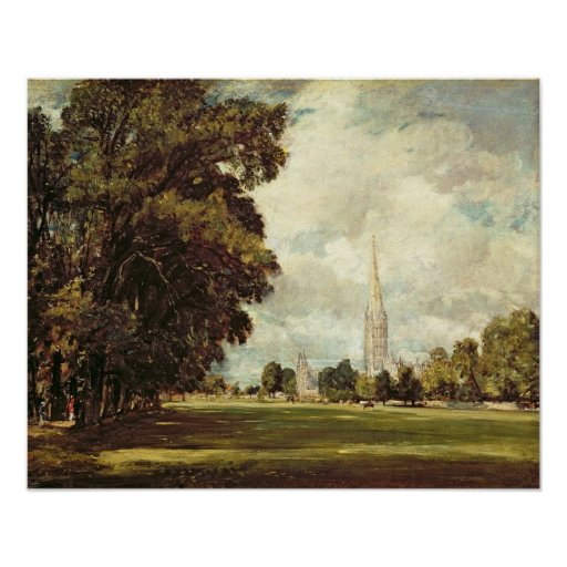 Salisbury Cathedral from Lower Marsh Close, 1820 Print