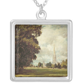 Salisbury Cathedral from Lower Marsh Close, 1820 Silver Plated Necklace