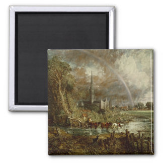 Salisbury Cathedral From the Meadows, 1831 2 Inch Square Magnet