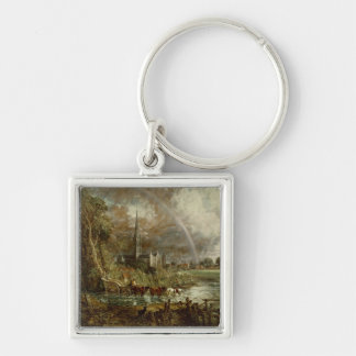 Salisbury Cathedral From the Meadows, 1831 Keychains